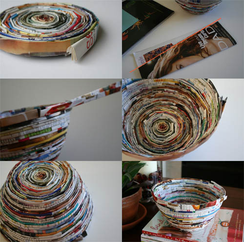 Tutorial tuesday recycled magazine bowl indie fixx for Cool recycling projects