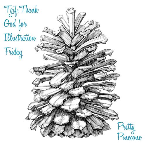 christmas pine cone drawing - photo #24