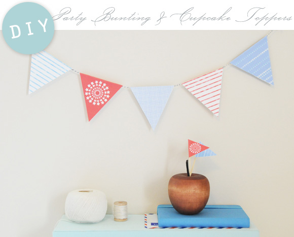 printable bunting and cupcake topper template
