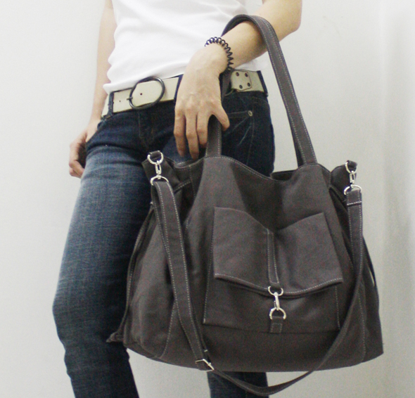kinies canvas grey bag