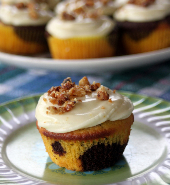 Recipe: Squash and Chocolate Swirled Cupcakes with Orange Cream Cheese Frosting & Candied Pecans recipe