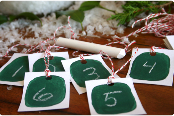 homemade chalkboard advent calendar