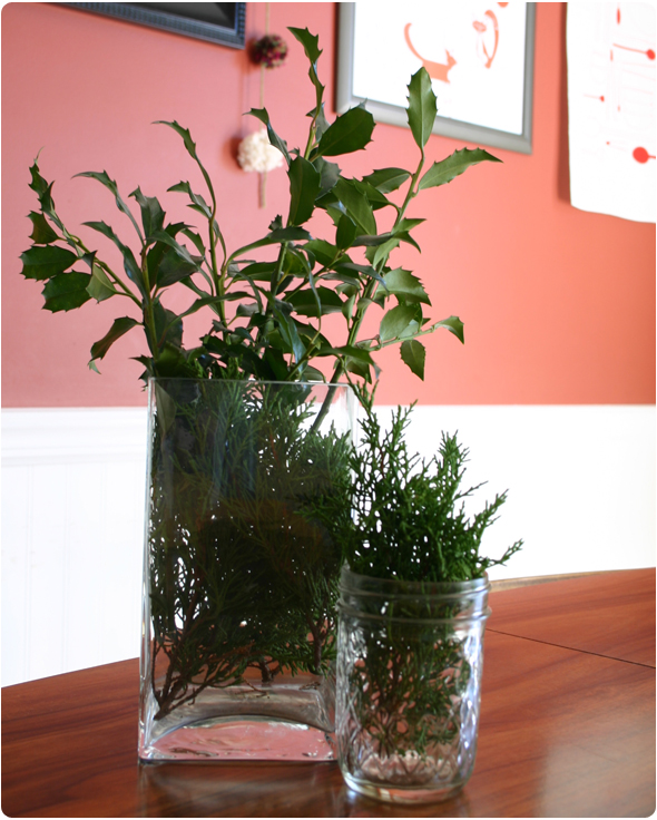 holiday decor ideas - greenery in a vase