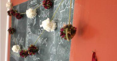 handmade pom-pom garland for the holidays