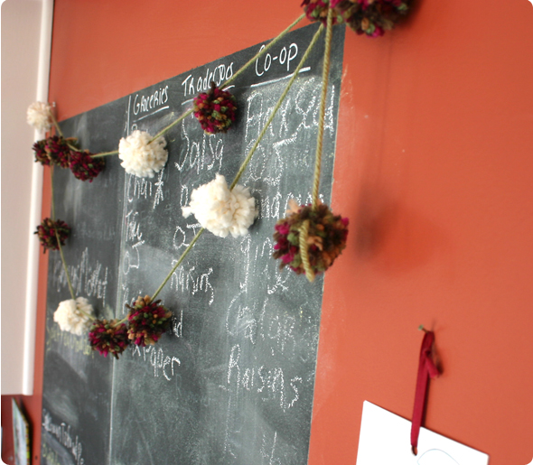 handmade pom-pom garland for the holidays