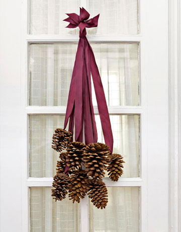 pinecone ribbon wreath thanksgiving - country living