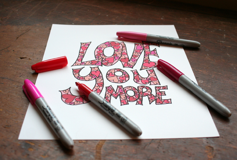 i love you  more coloring page valentine's day