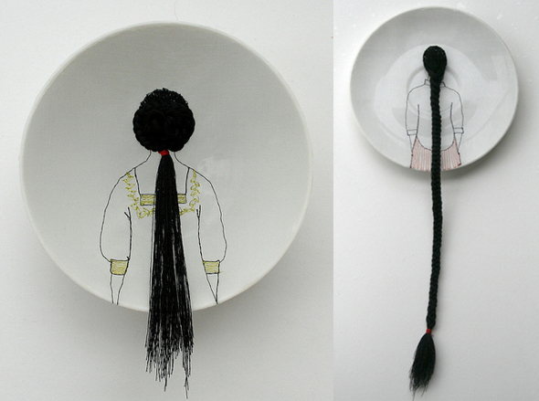 embroidered porcelain plate from artist diem chau