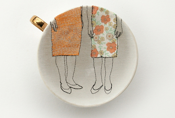 embroidered porcelain tea cup from artist diem chau