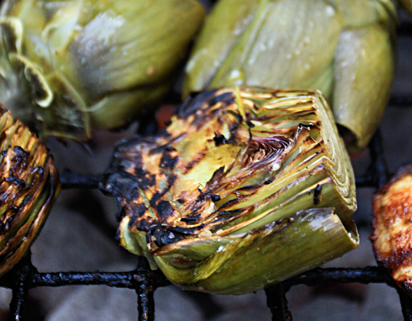 Fire-Roasted Artichokes with Lemon Garlic Mayonnaise