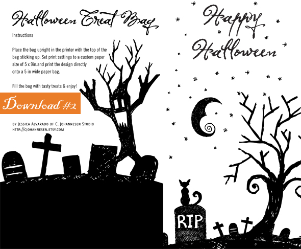 The 2nd Halloween printable is for a Halloween Treat Bag, which you ...