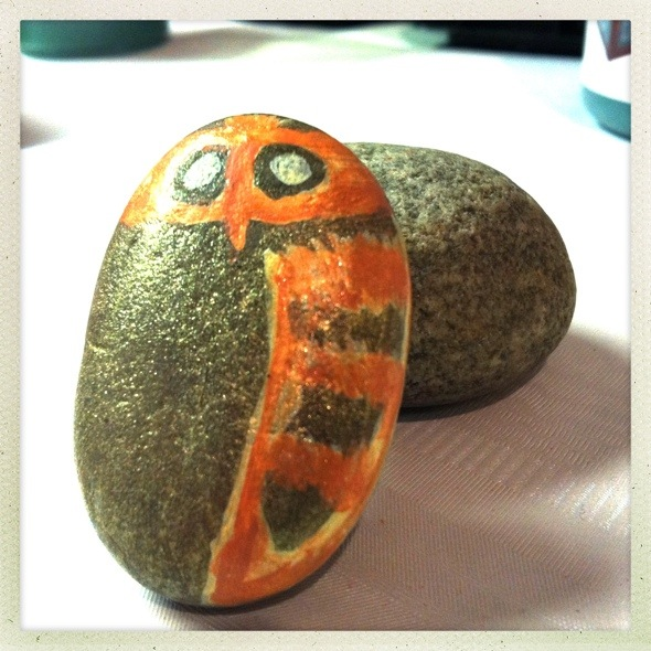 Painting rocks and meeting with the women