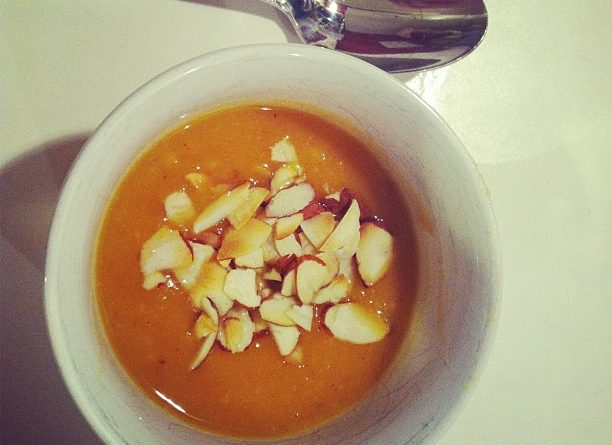 Sweet potato soup with ginger.