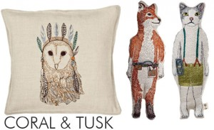 Fox and owl pillows.